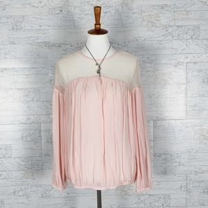 Forever 21 sheer pink long sleeve blouse top